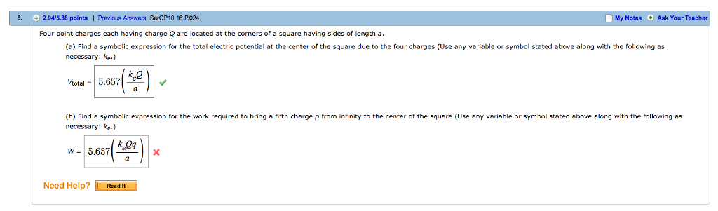 Solved Four Point Charges Each Having Charge Q Are Locate