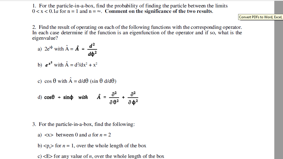 Solved For The Particle In A Box Find The Probability Of