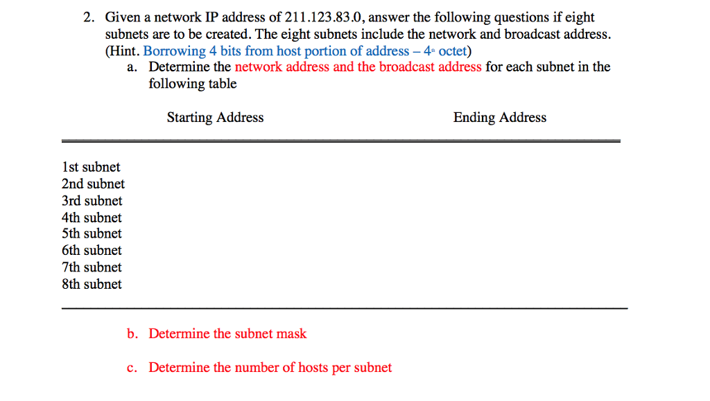 Solved: 2  Given A Network IP Address Of 211 12383 0, Answ
