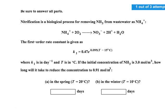 Chemistry archive february 15 2017 chegg 1 out of 3 attempt be sure to answer all parts nitrification is a biological fandeluxe Images