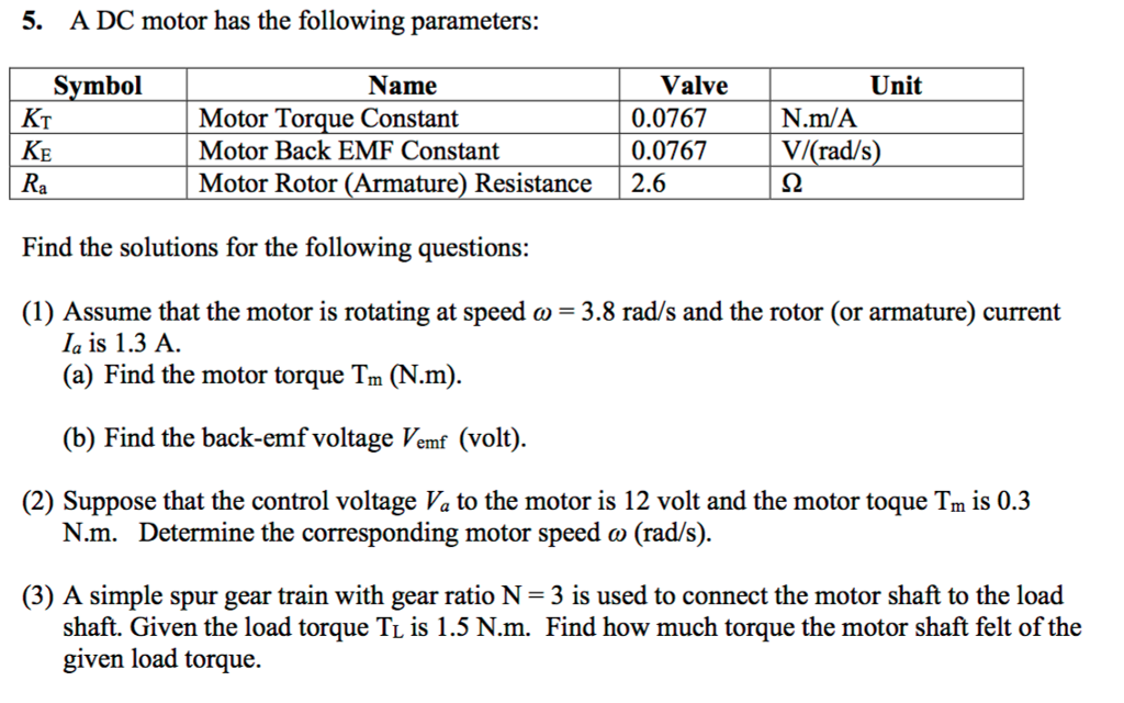 Solved: 5. A DC Motor Has The Following Parameters: Valve ...