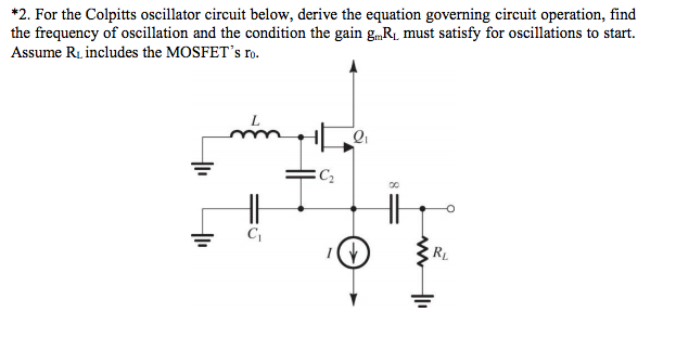 Solved: For The Colpitts Oscillator Circuit Below, Derive