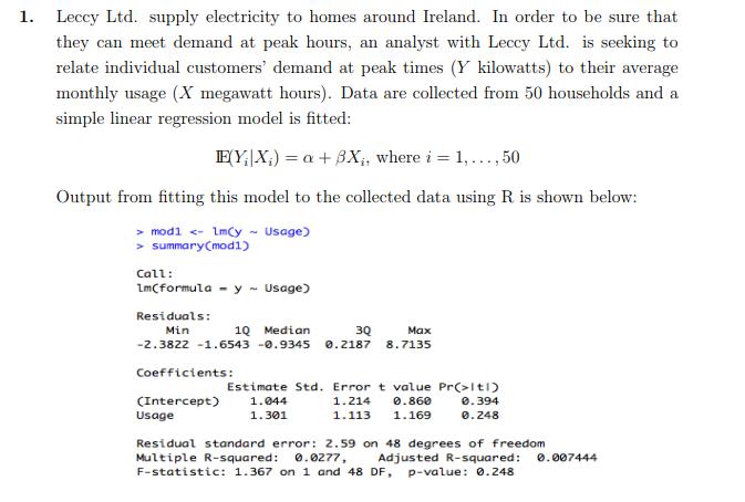 1. Leccy Ltd. Supply Electricity To Homes Around I... | Chegg.com