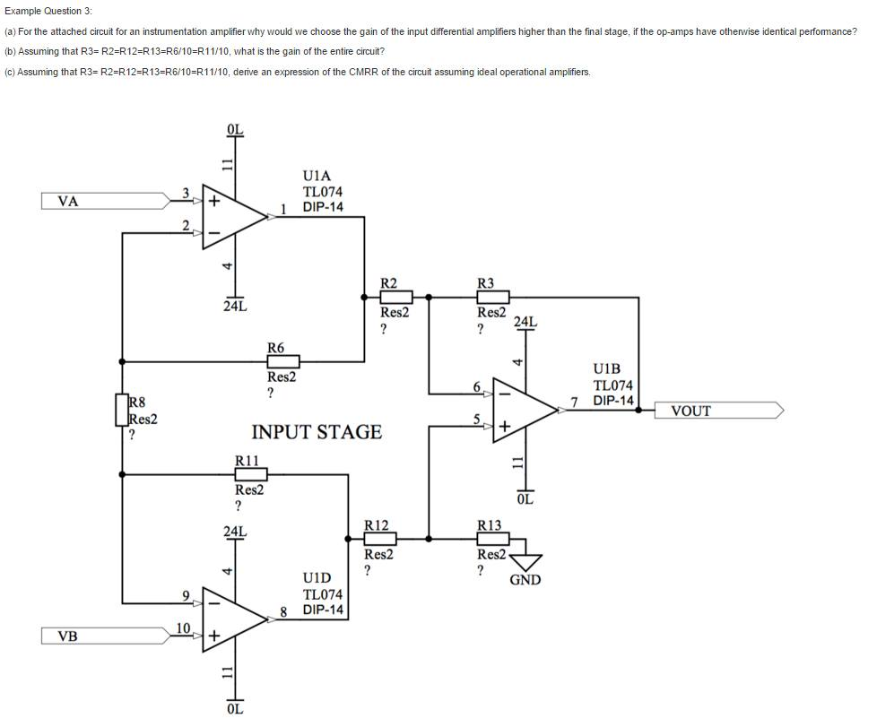 Solved For The Attached Circuit An Instrumentation Am Amplifier Diagram