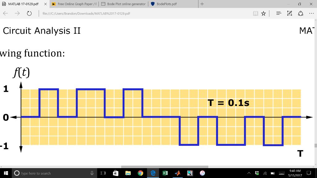 Solved: MATLAB 17-0129 pdf X Free Online Graph Paper I E B