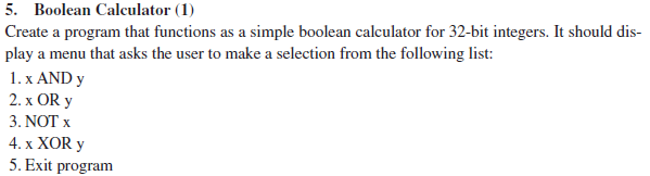 Solved: Create Program That Functions As Simple Boolean Ca