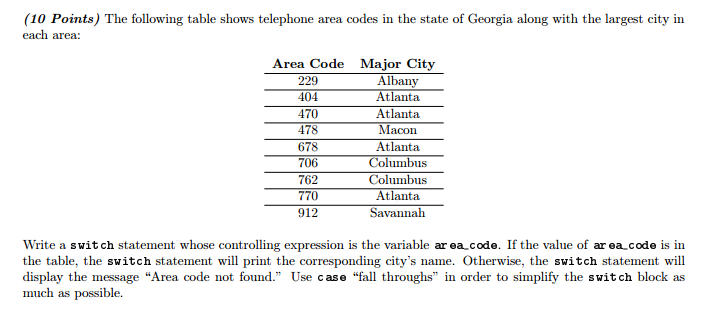 10 Points The Following Table Shows Telephone Area Codes In State Of Georgia