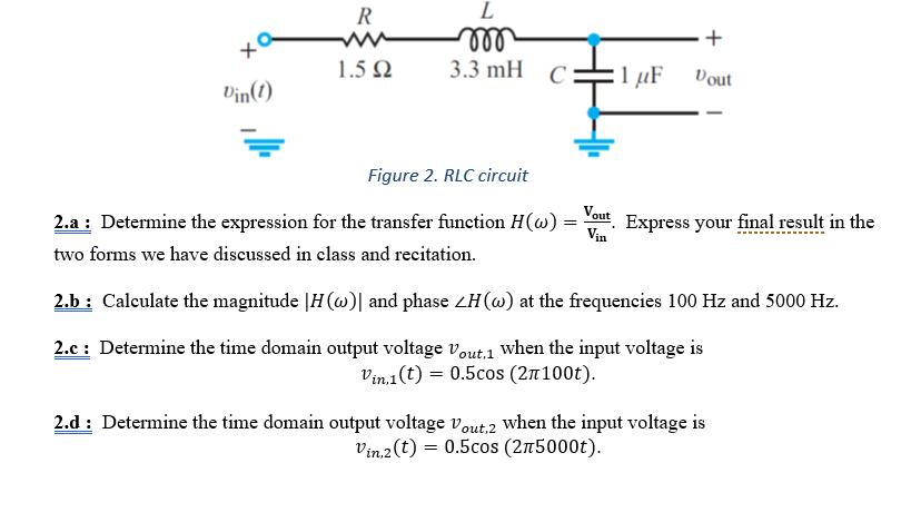 solved 1 5Ω 3 3 mh c i㎕ tout din(t) figure 2 rlc circu1 5Ω 3 3 mh c i㎕ tout din(t) figure 2