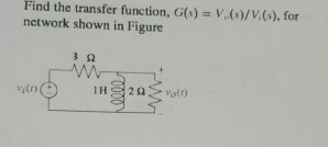 Find the transfer function, G(s) = V (s)/V (s) for