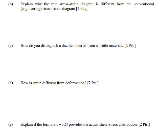solved explain why the true stress strain diagram is diff rh chegg com