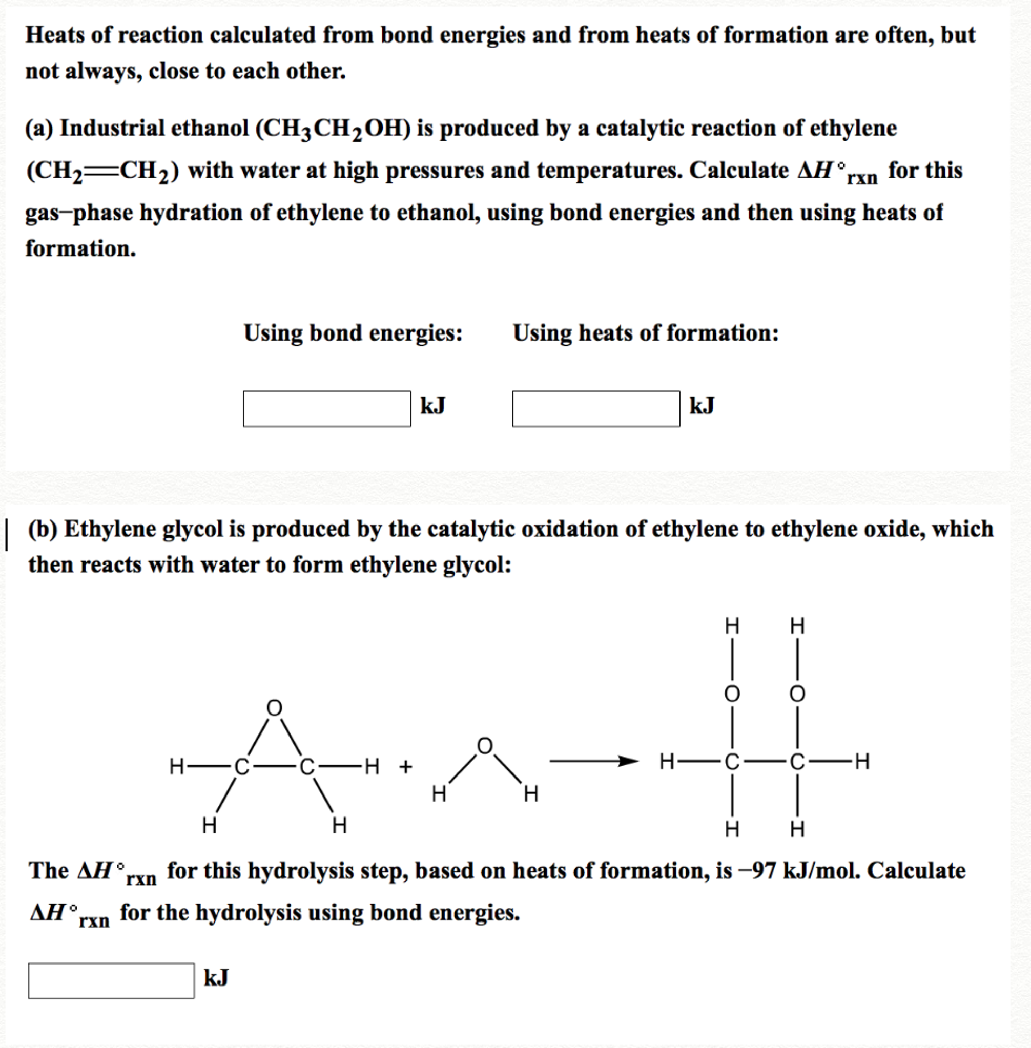 Solved Heats Of Reaction Calculated From Bond Energies An Design Rxn