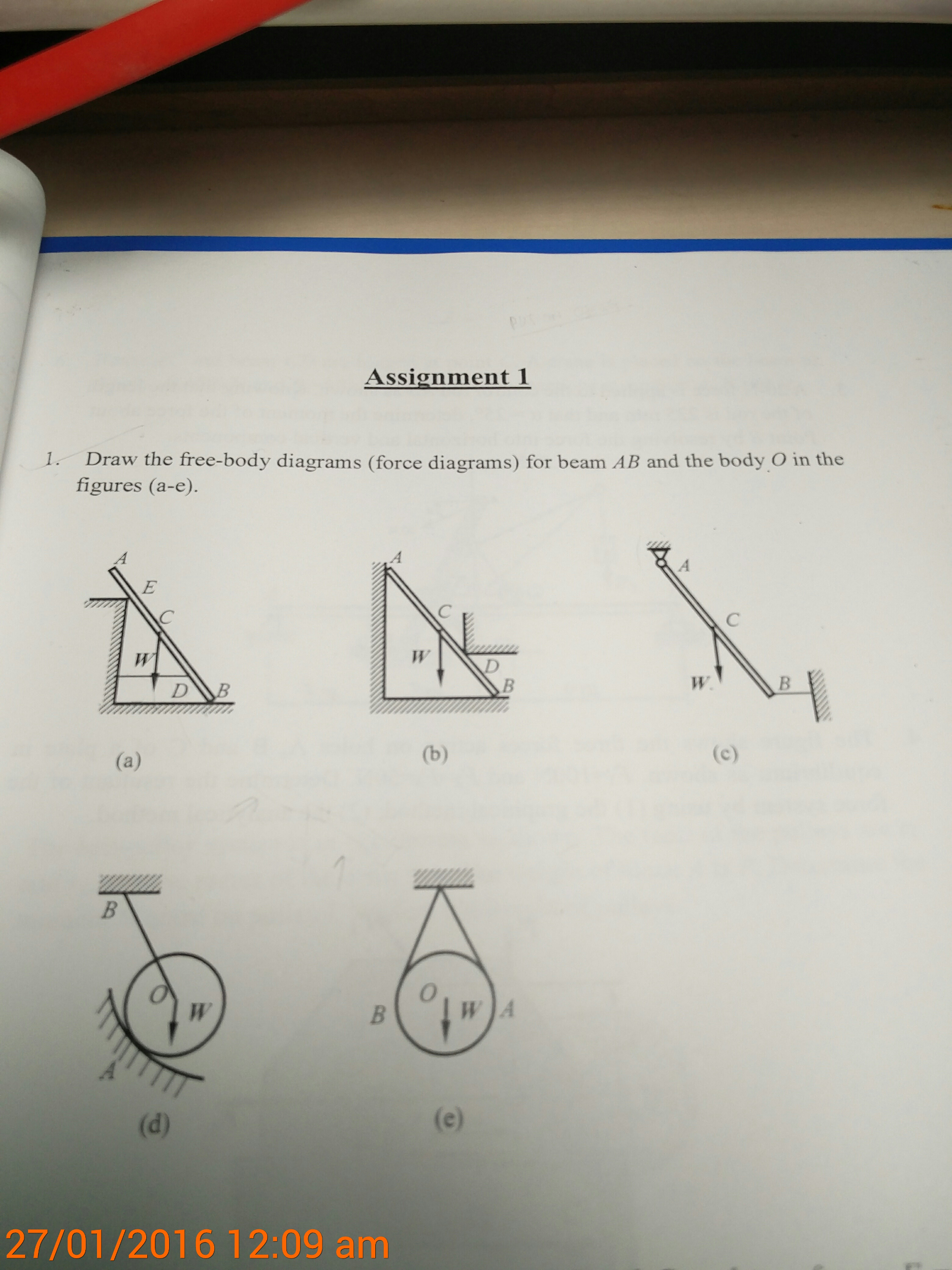 Draw the free body diagrams (force diagrams)for b
