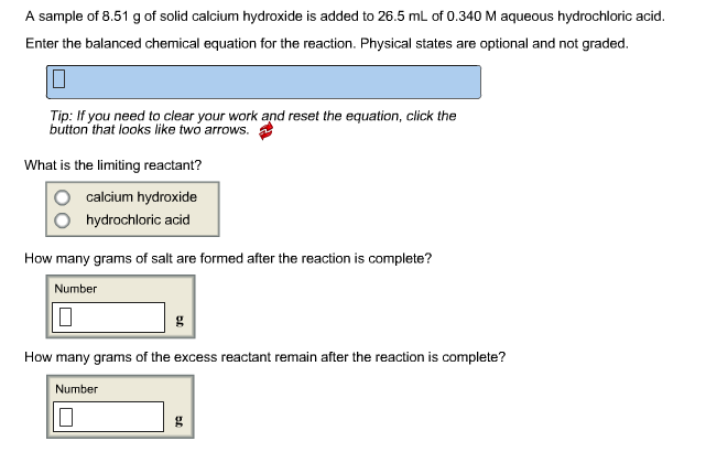 Solved A Sample Of 851 G Of Solid Calcium Hydroxide Is A