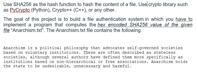 Use SHA256 As The Hash Function To Hash The Conten