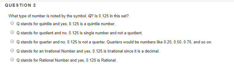 Solved Question 2 What Type Of Number Is Noted By The Sym