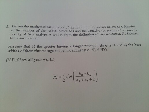 solved 2 derive the mathematical formula of the resoluti