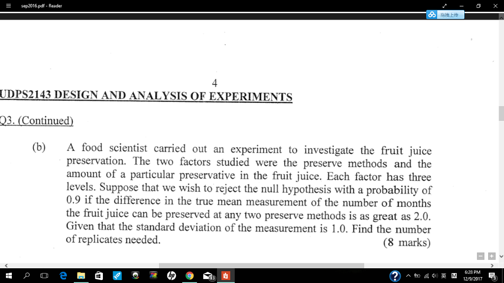 Solved: A Food Scientist Carried Out An Experiment To Inve
