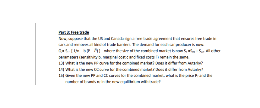 Solved Part 3 Free Trade Now Suppose That The Us And Ca