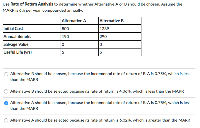 Solved: Use Rate Of Return Analysis To Determine Whether A