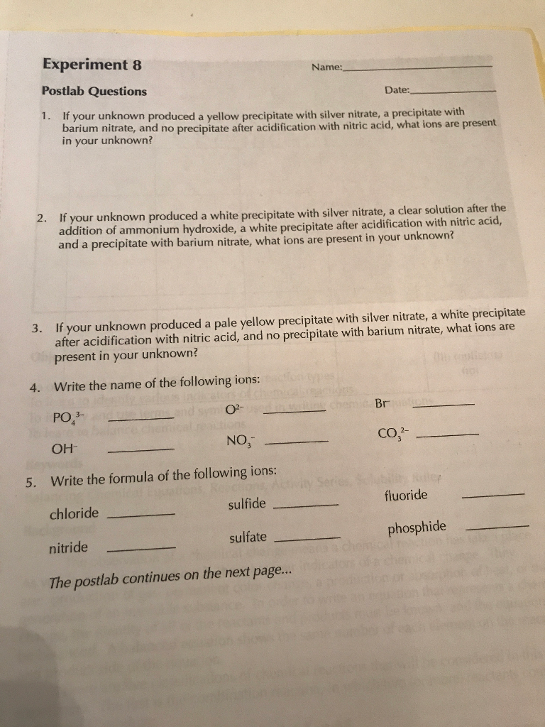 Prelab Questions 1 What is the definition