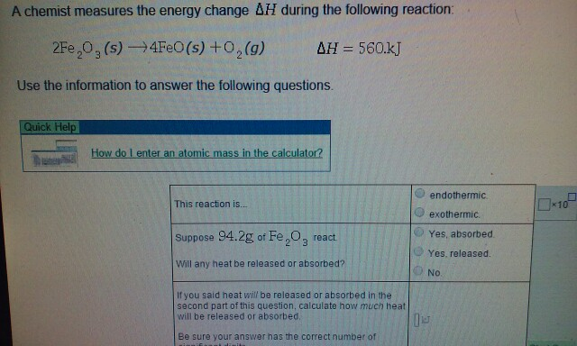 Solved: A Chemist Measures The Energy Change Delta H Durin ...