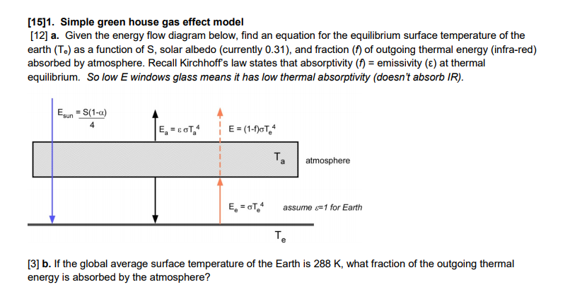 Solved 151 simple green house gas effect model 12 a question 151 simple green house gas effect model 12 a given the energy flow diagram below find an e ccuart Choice Image