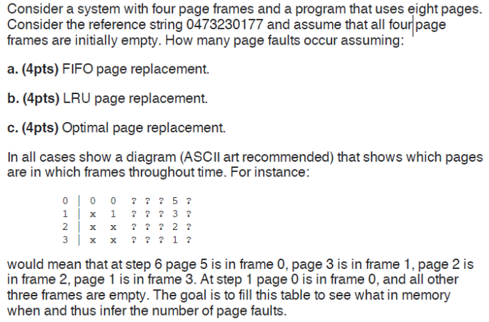 Solved: Consider A System With Four Page Frames And A Prog ...