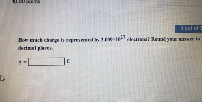 How much charge is represented by 3.039 times 10^1