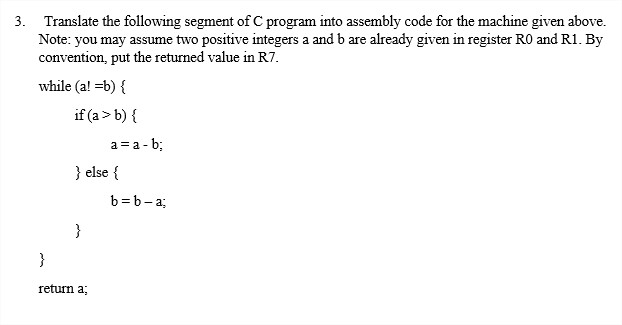Solved The Following Instruction Set Is Supported By A Si