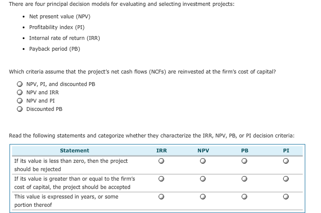 Evaluating investments with net present value criteria model marius chis middle europe investments