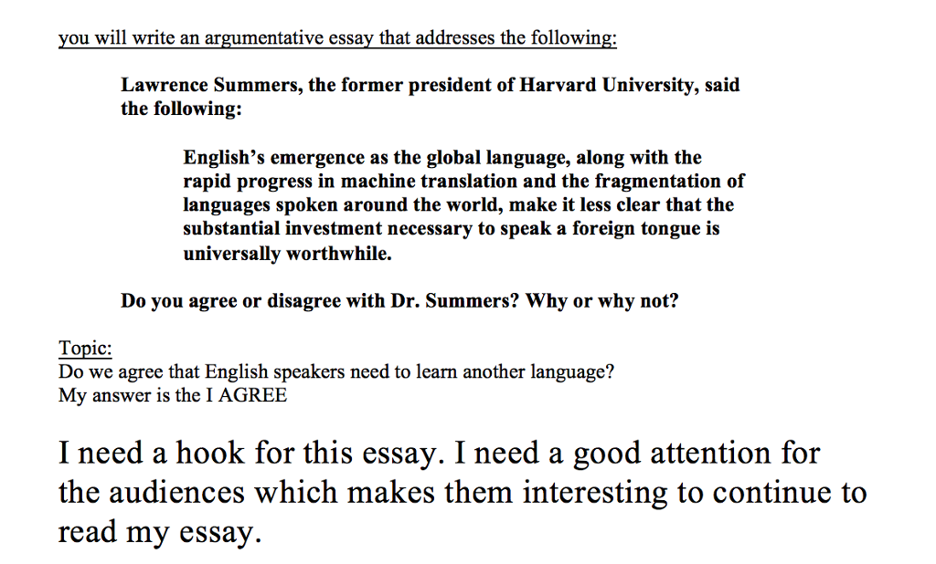 Types Of English Essays Question I Need A Hook For This Essay I Need A Good Attention For The  Audiences Which Makes Them Interest Computer Science Essay also Examples Of A Proposal Essay Solved I Need A Hook For This Essay I Need A Good Attent  Essays For High School Students