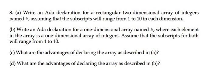 write an ada declaration for a rectangular two dim