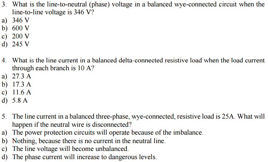 Solved: In A Balanced Wye-connected Circuit The Line Volta ...
