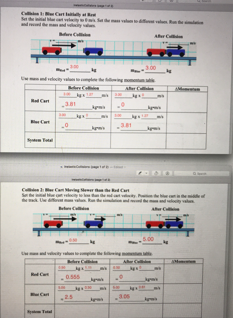 Solved First Pic Is Inelastic Collision And Second Pic Is