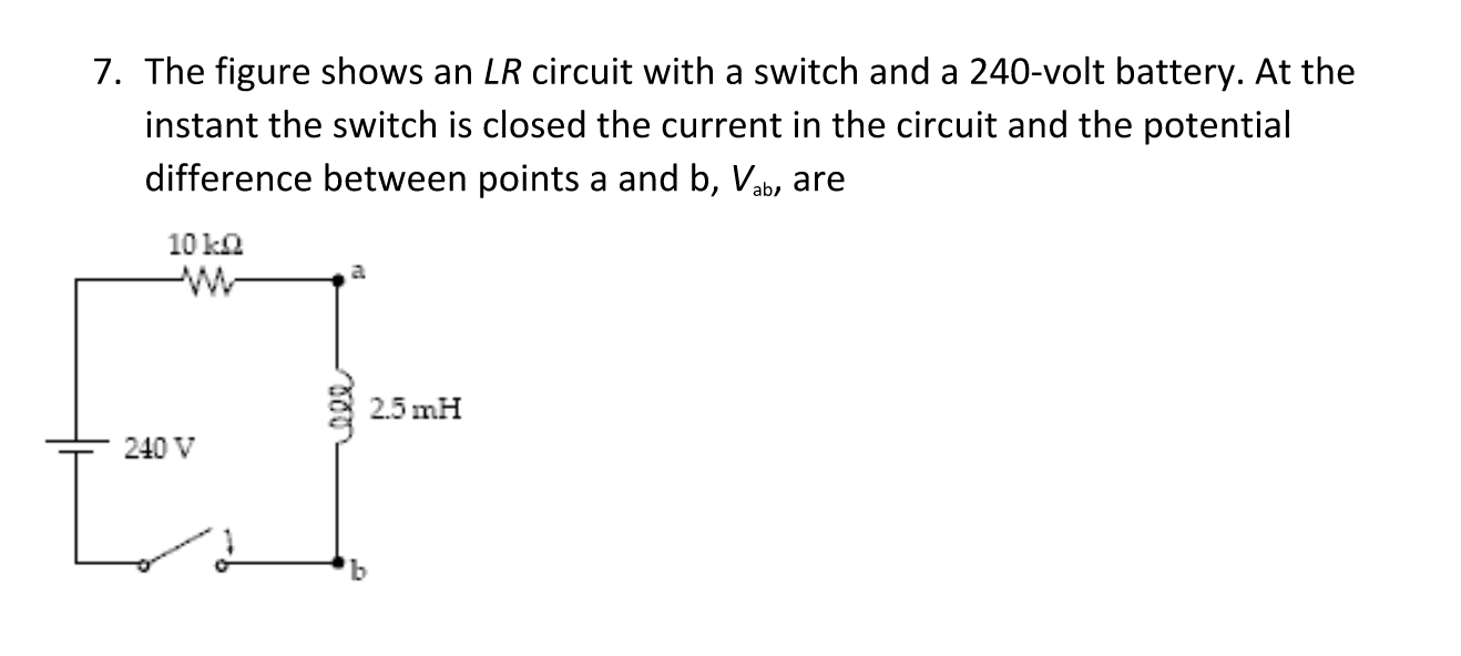 Solved: The Figure Shows An LR Circuit With A Switch And A ...
