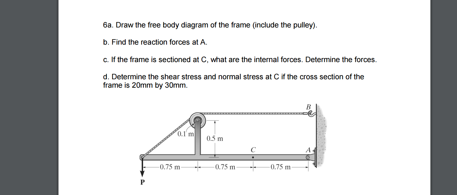Solved Draw The Free Body Diagram Of Frame Include T Schematic