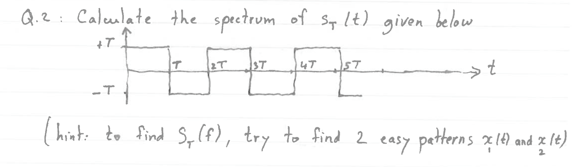 Calculate the spectrum of S_T (t) given below