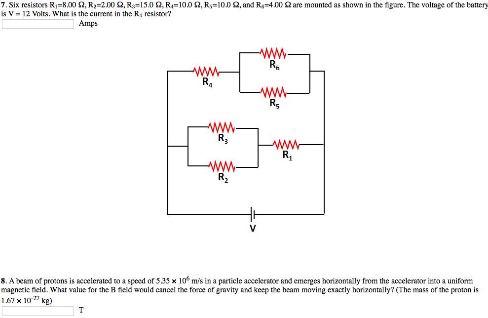 Solved: General Physics 7  Six Resistors R11=8 00 Ω, R22=2