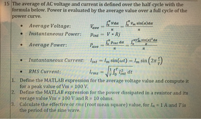 Solved 15 The Average Of Ac Voltage And Current Is Define Chegg Com