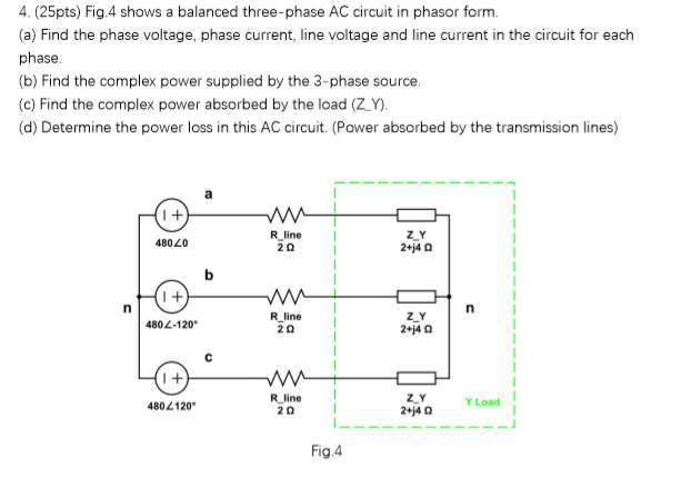 Solved: 4. (25pts) Fig.4 Shows A Balanced Three-phase AC C ...
