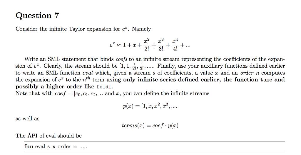 Consider The Infinite Taylor Expansion For E^x  Na    | Chegg com