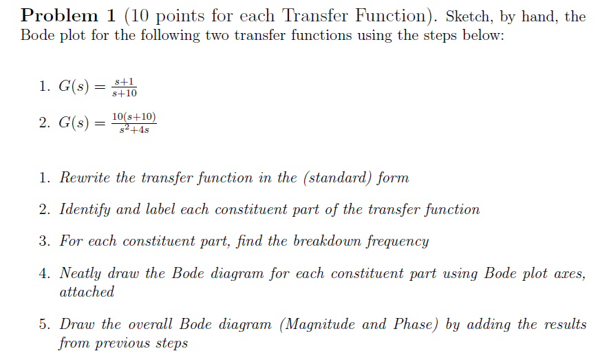 Solved Problem 1 10 Points For Each Transfer Function