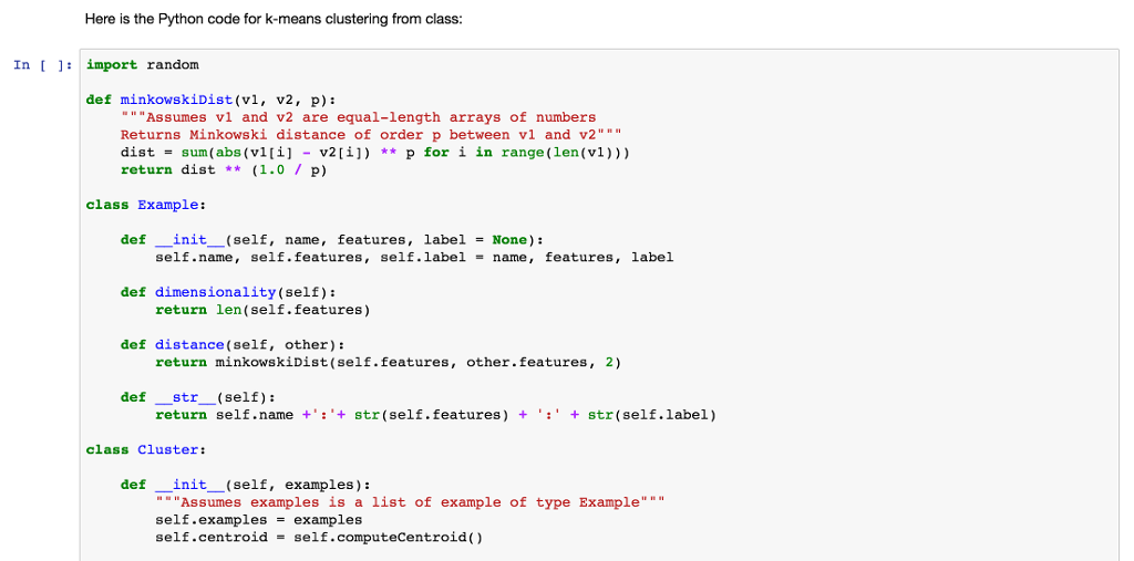 here is the python code for k-means clustering fro | chegg