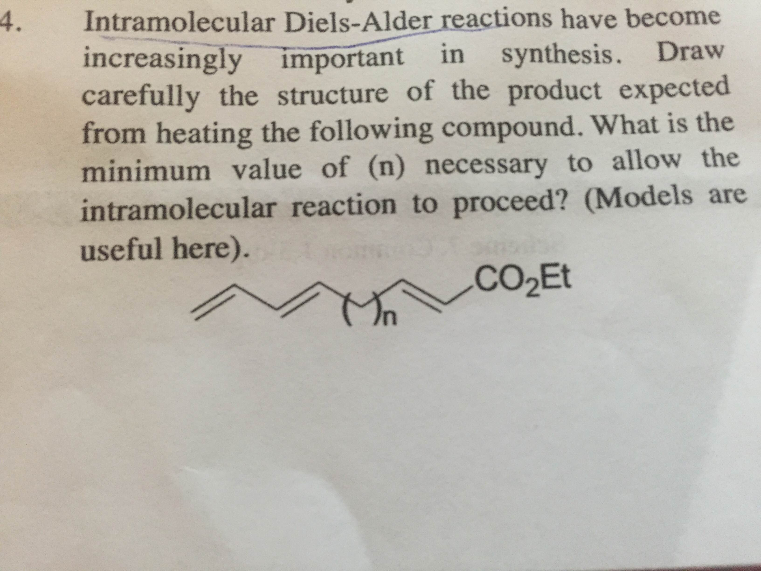diels alder reaction essay Diels alder reaction the theoretical yield of hydrolysis is 0 96g the experimental product yield is 0 28g (some solid left on the filter paper and some for the melting point measurement.