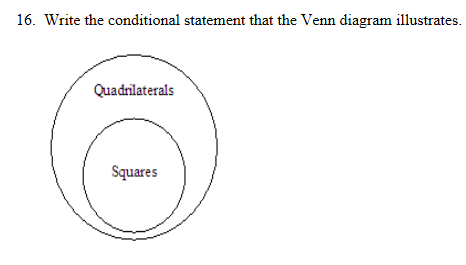 Write The Conditional Statement That The Venn Diagram Illustrates | Write The Conditional Statement That The Venn Diagram Illustrates