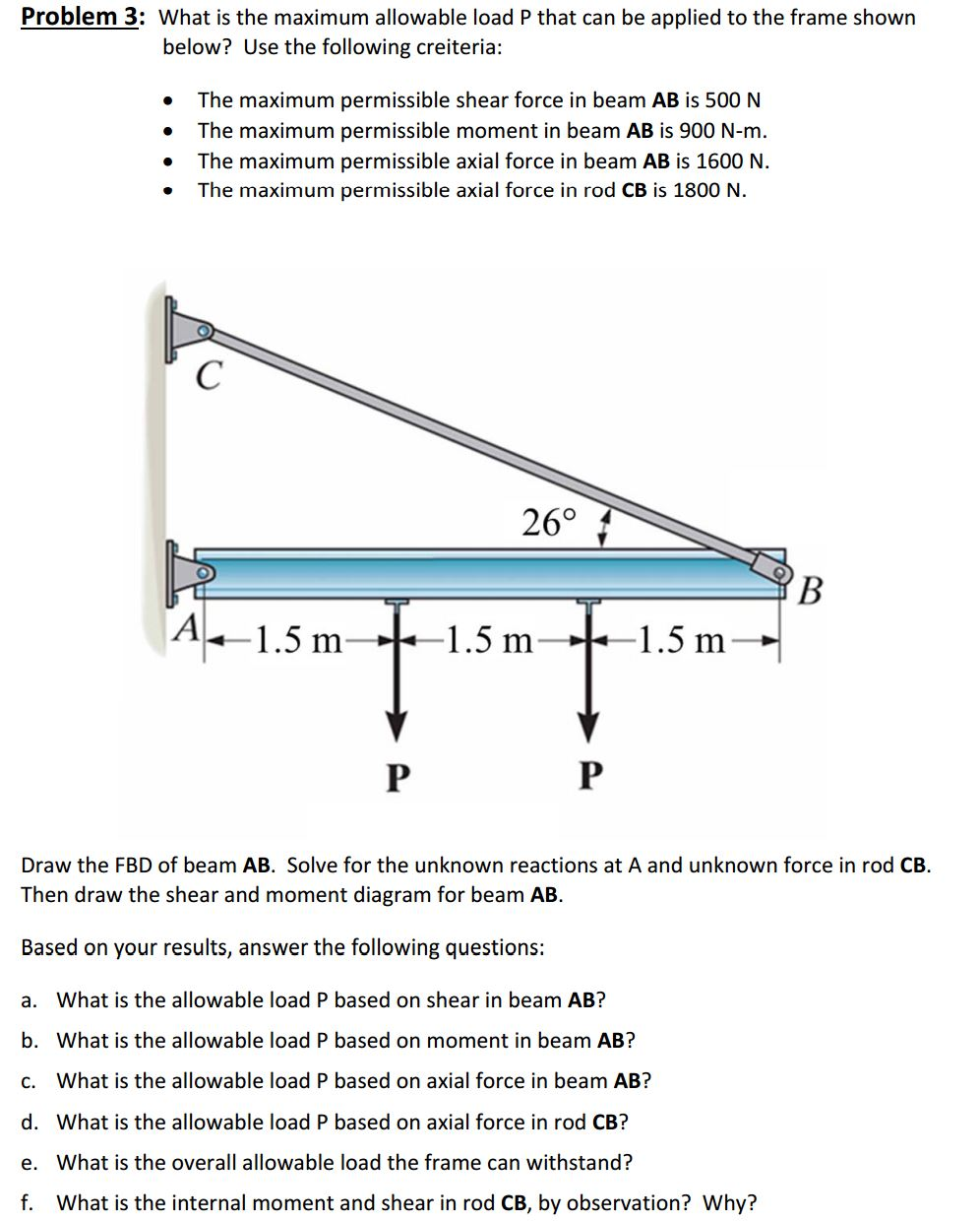 Solved Problem 3 What Is The Maximum Allowable Load P Th Draw Bending Moment And Shear Force Diagrams F Cheggcom Image For That Can Be Applied