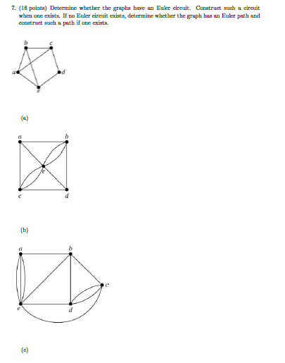 Solved Determine Whether The Graphs Bore An Euler Circuit