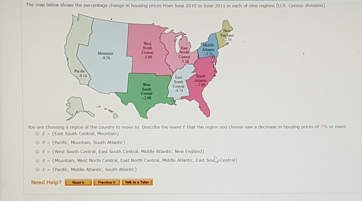 Solved: The Map Below Shows The Percentage Change In Housi ...