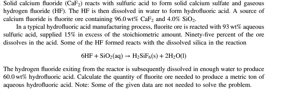 solved solid calcium fluoride caf2 reacts with sulfuric