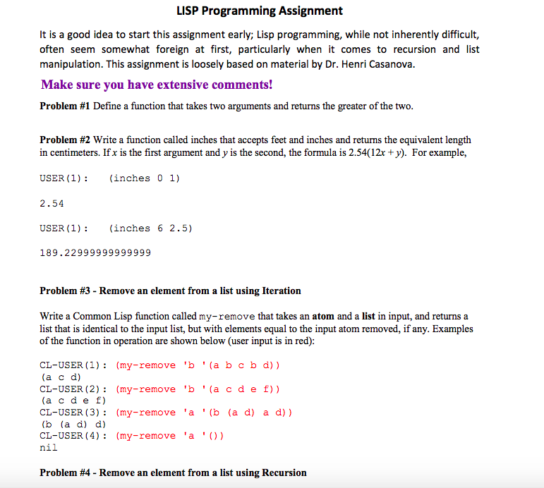 LISP Programming Assignment It Is A Good Idea To S